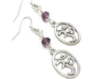 SACRED OM earrings purple earrings chakra earrings meditation yoga jewelry crown chakra