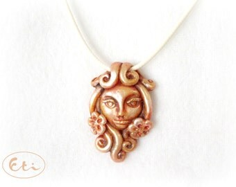Face in flowers pendant, handmade gift,  charm flower face, cold porcelain, air dry clay