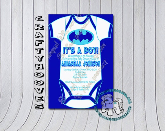 superhero batman baby blue shower it 39 s a boy party invitations u print