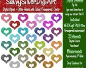 Glitter Hearts Digital Clipart - Colorful Rainbow Hearts Clip Art, Instant Download, Printable, Digital Heart with Cutout