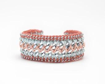 Coral and mint bracelet, boho bracelet, crochet bracelet with chain, chunky chain bracelet, coral friendship bracelet