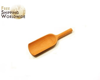 Wooden Measuring Scoop / Shovel MIDDLE size for all kind of flours, cereals or wheats from Beech wood - 63
