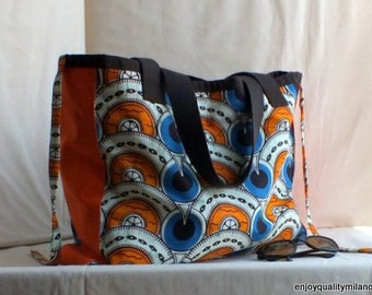Summer orange cotton sac- large totebag for beach freetime market and citylife