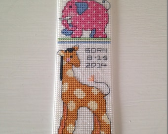 Personalized New Baby Girl Cross Stitch Bookmark