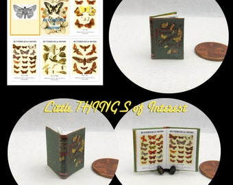 BUTTERFLIES And MOTHS Illustrated Miniature Victorian Book Dollhouse 1:12 Scale Readable Book