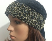 Black and Gold flowers Tiara, S-0010, Tichel, Snood, Pre Tied Headwear, Jewish Head Scarf, Hair Covering, Sigal Shleifer.