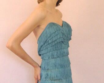 Pencil Fringe 50s Dress, calf-lenght, custom made to measure.