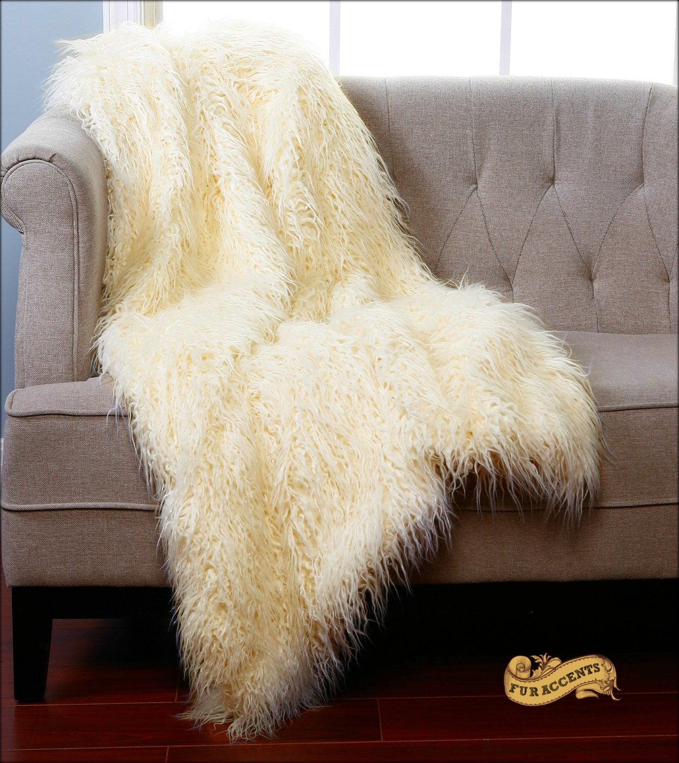 Fur Accents Shaggy Sheepskin Throw Blanket Rug By
