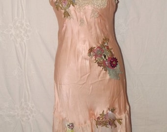 Lady Rose Up-cycled  Shabby Couture Wearable Art  Slip Dress  Lingerie French Silk Dressing Gown
