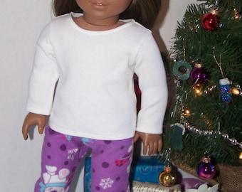 Puple Polar Bear Flannel PJ pants and Shirt - fits 18 inch Dolls