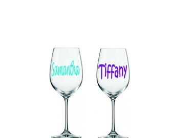 Bridesmaid Glass Decals, Personalized Glasses, Wine Glass Decal, Wine Glass Sticker - Decal Only