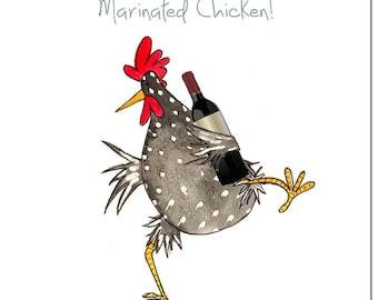 Chicken Card - Marinated Chicken Greeting Card - Funny Chicken Birthday Card, Blank Inside