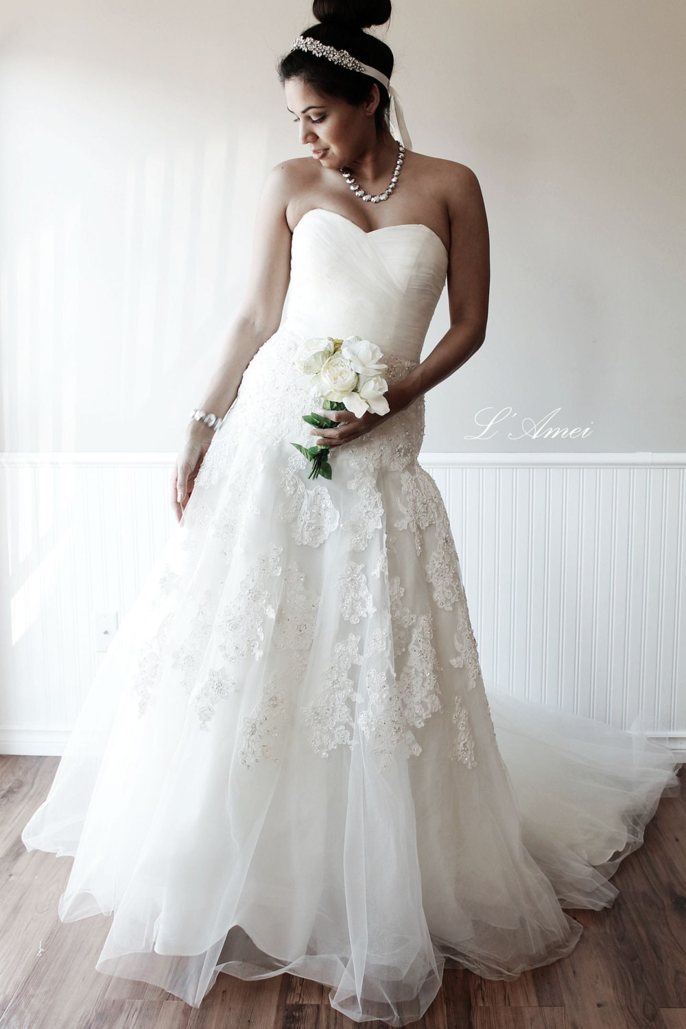 Custom Made Classical French Lace Tulle Wedding Dress With