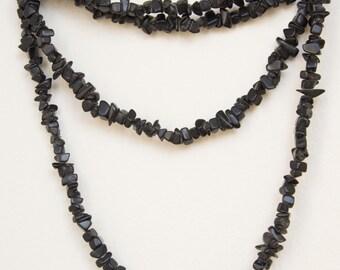 Handmade Black Beaded Long Necklace
