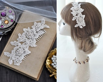 Bridal Vintage Headpiece Lace Haircomb Lace Comb beaded with Pearls & Rhinestones in Ivory, Bohemian Head Piece, Wedding Lace Headpiece