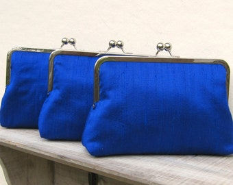 Royal blue bridesmaid clutch, set of 3, bridesmaid gift, silk bridesmaid clutch bag, cobalt clutch set, royal blue wedding, electric blue