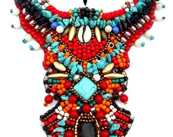 African bead embroidery collar statement spring 2015 fashion jewelry bib necklace turquoise red tibetan tribal boho hippie psy colorful
