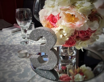 Set of 10 silver glitter table numbers Wedding table decoration Freestanding wooden wedding table number