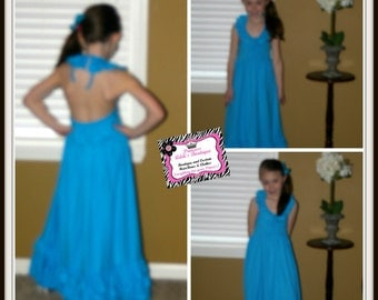 Blue Maxi Halter Dress for Inants, Toddlers and Girls