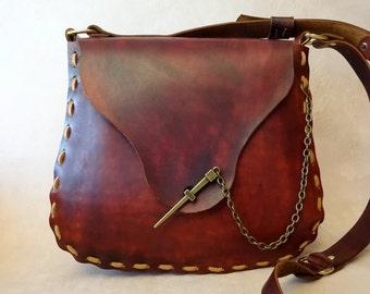 Extra Large Jewel Handmade Brown Leather Crossbody Bag - Shoulder Bag - Purse - Handbag