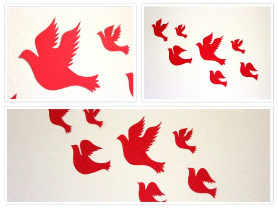 3D Bird wall art, Red Wall Decor, Bird wall art, Paper birds,