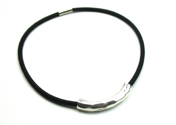 Fiber Necklace with Black Mokuba Cord and Hammered Silver Tube Bead / Minimalist Necklace / Artisan Jewelry / Gift For Her