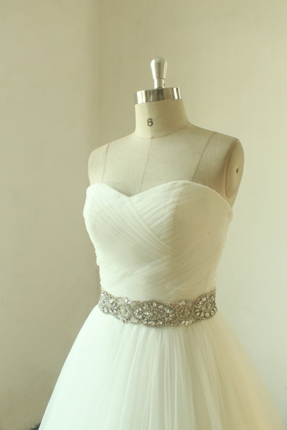 Romantic ivory a line wedding dress with beading sash for Ivory wedding dress sash