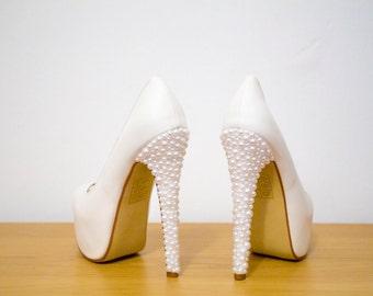 Custom barbie bling pearl diamante pink ivory herochicheels jpg 340x270  Barbie wedding shoes 660516574