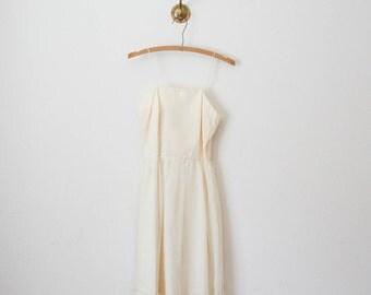 vintage 60s white chiffon lace dress