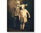 Lamb Art Print Animal Art Anthropomorphic Nursery Decor Animals In Clothes Children's Art Nursery Art (3 sizes)