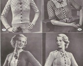 1930s Knitting Pattern magazine for 8 Womens Mens Tyrolean style Cardigans / Jumpers / Cape - Digital PDF