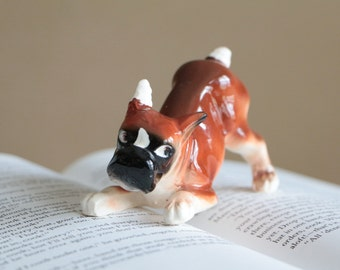 Vintage ceramic brown boxer bulldog figurine, ear and tail with bandage, dog lover's collectible