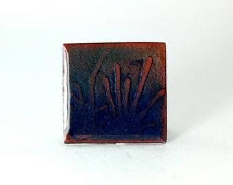 Blue Enamel Pendant, Enamel Necklace, Etched Pendant, Blue Enamel, Silver Pendant, Copper Pendant, Blue Necklace, Copper Enamel