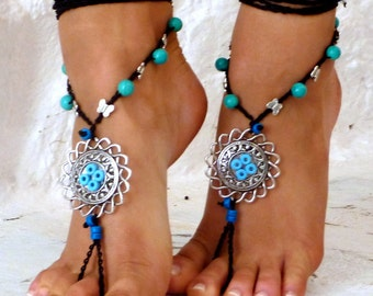 Barefoot Sandals, Barefoot Beach Jewelry, tibetian silver mandala, bridesmaid barefoot sandals, Toe Thong