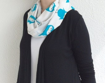 Circle Owl Scarf, Bird Printed Scarf, Infinity Scarf, Cotton Owl Loop Scarf, Animal Scarf, Wholesale Scarves, Unisex Scarf, Designscope
