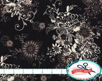 MICHEAL MILLER Fabric by the Yard, Fat Quarter ZEPHYR Fabric Black Fabric Floral Fabric 100% Cotton Fabric Quilting Fabric Yardage t1-40