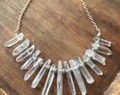 Raw Crystal Point Necklace- Crystal Bib Statement Necklace- Raw Crystal Bib Necklace- Boho Lux Jewelry- Healing Crystal Necklace
