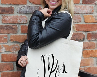 """Mrs. Tote Bag 100% Natural Cotton Twill 15"""" X 16"""" in., Custom Illustration & Eco-friendly Screen Printing– by Alicia Cox/ Ellafly"""