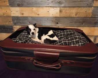 Suitcase Pet Bed, Dog or Cat, Upcycled