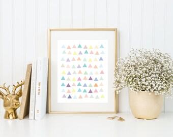 Triangle Multicolor   8x10   Quote Print