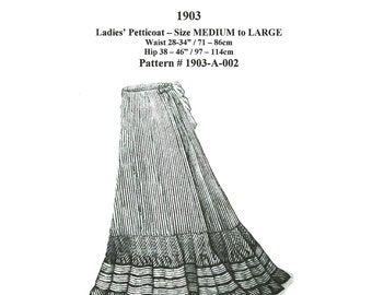 Digital Antique Sewing Pattern for Classic 1903 Edwardian Petticoat - in PDF format to print at home ~ 2 sizes(M & L) included