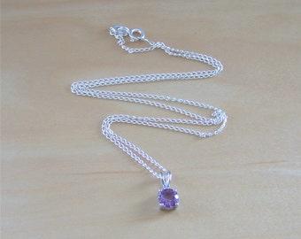 "925 Amethyst Solitaire Pendant & 18"" Silver Chain/Amethyst Necklace/Amethyst Jewellery/Amethyst Jewelery/February Birthstone/Purple Amethyst"