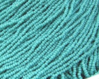Hanks 13/0 Turquoise Green Opaque Czech Glass Seed Beads 1.7 mm 1 Cut - 1 / 4 / 8 / 12 Hank Options.