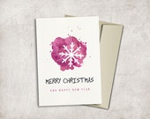 Snowflake Holiday Card Printable, Digital file, 5x7, Instant Download - Christmas Card, Happy new Year Card
