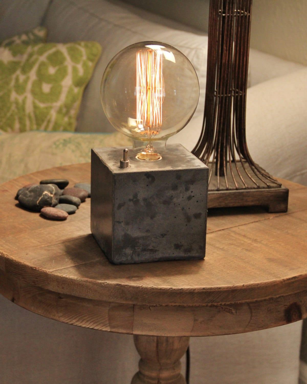Concrete cube desk lamp edison lamp for Table originale