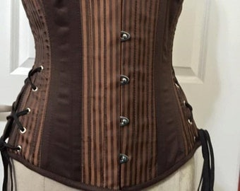 Ready to Ship Brown Twill Stripe Steampunk Underbust Hip Lacing Corset 28