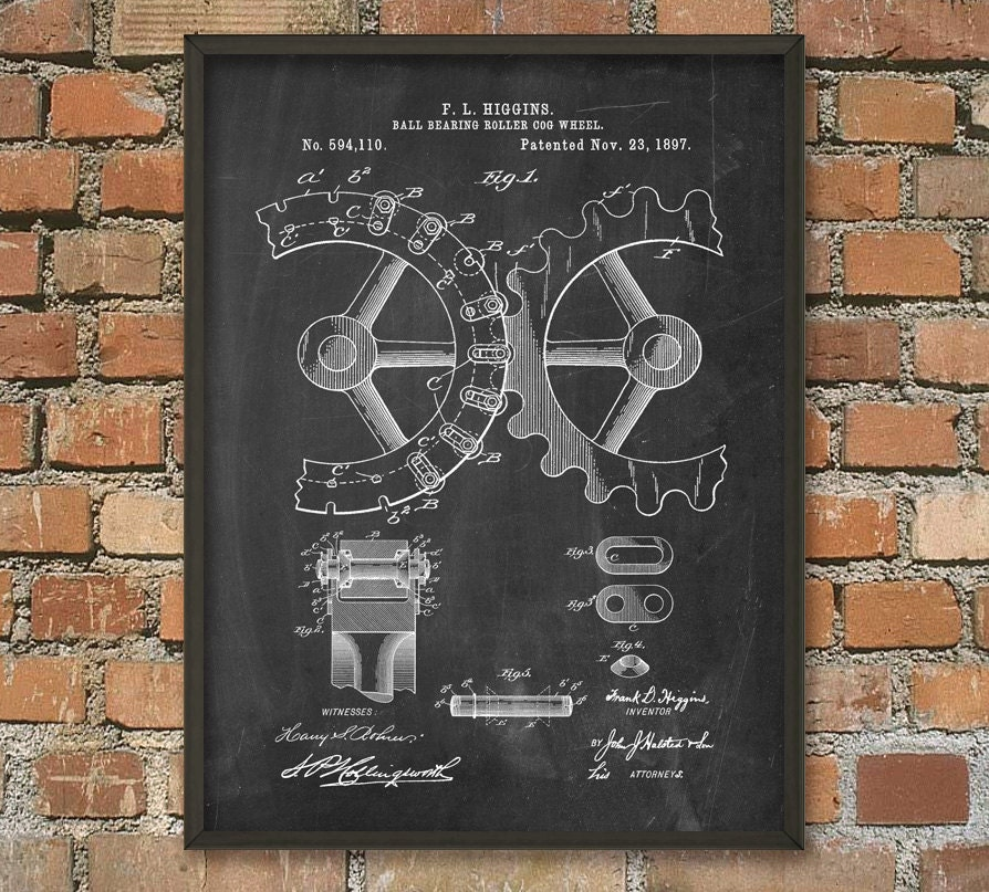 cogs and gears patent wall art poster steampunk print gear. Black Bedroom Furniture Sets. Home Design Ideas