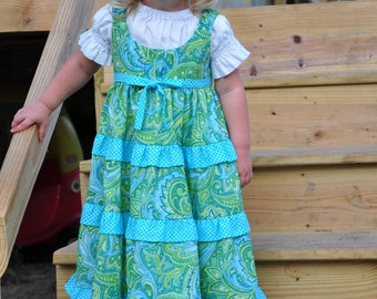 Paisley n' Dots Ruffled Tiered Twirl Jumper- {Sizes 3-6mos, 12-18mos, 2T, 3T, 4T, 5, 6, 7, 8, 10, and 12 Girls}