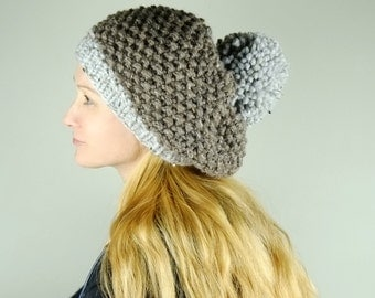 Knit Beanie Hat PATTERN Chunky Pom Pom Hat / Pattern PDF - Instant Download / Detailed Instructions In English