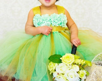 Mint and Gold Birthday Tutu Dress, Gold Rhinestone Tutu Dress, Flower Girl Tutu Dress, Mint Flower Girl Dress, Gold Flower Girl Dress